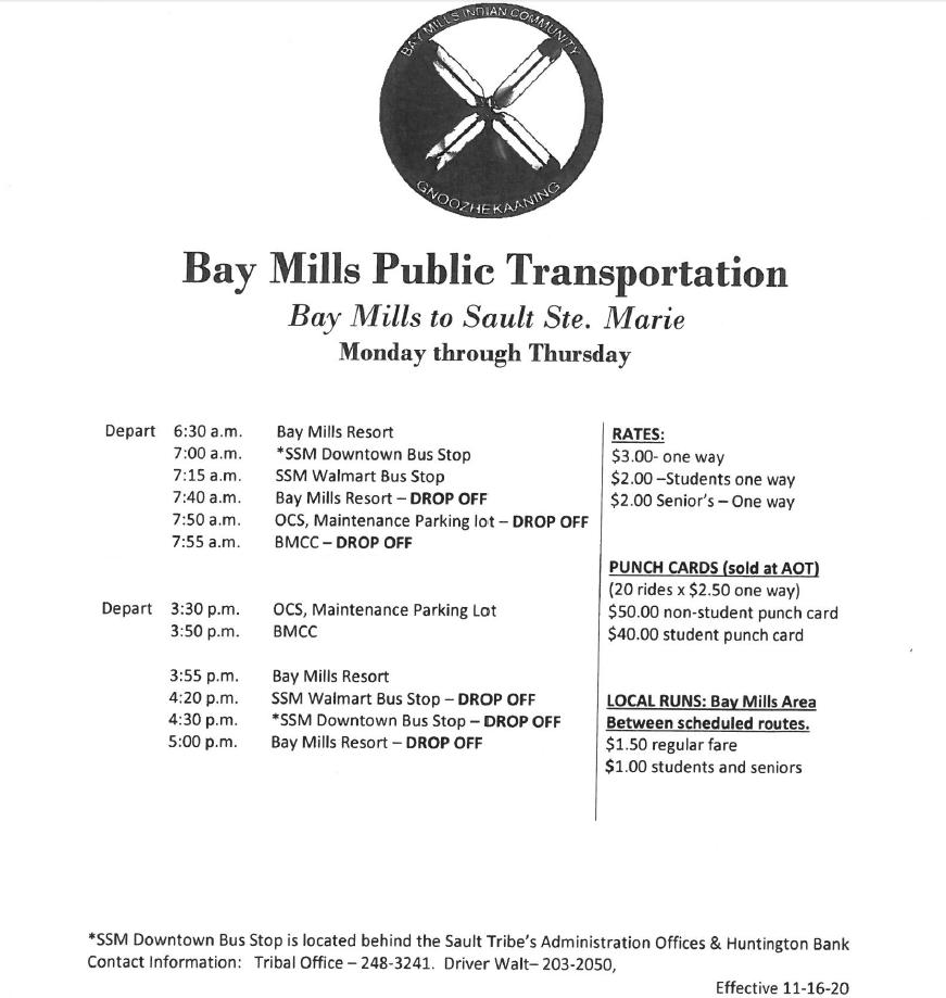 BMCC Public Transportation Bus Schedule