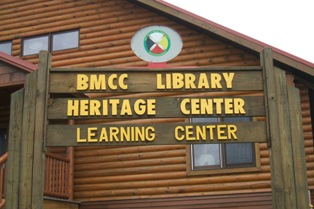 A picture of the sign in front of the BMCC Library